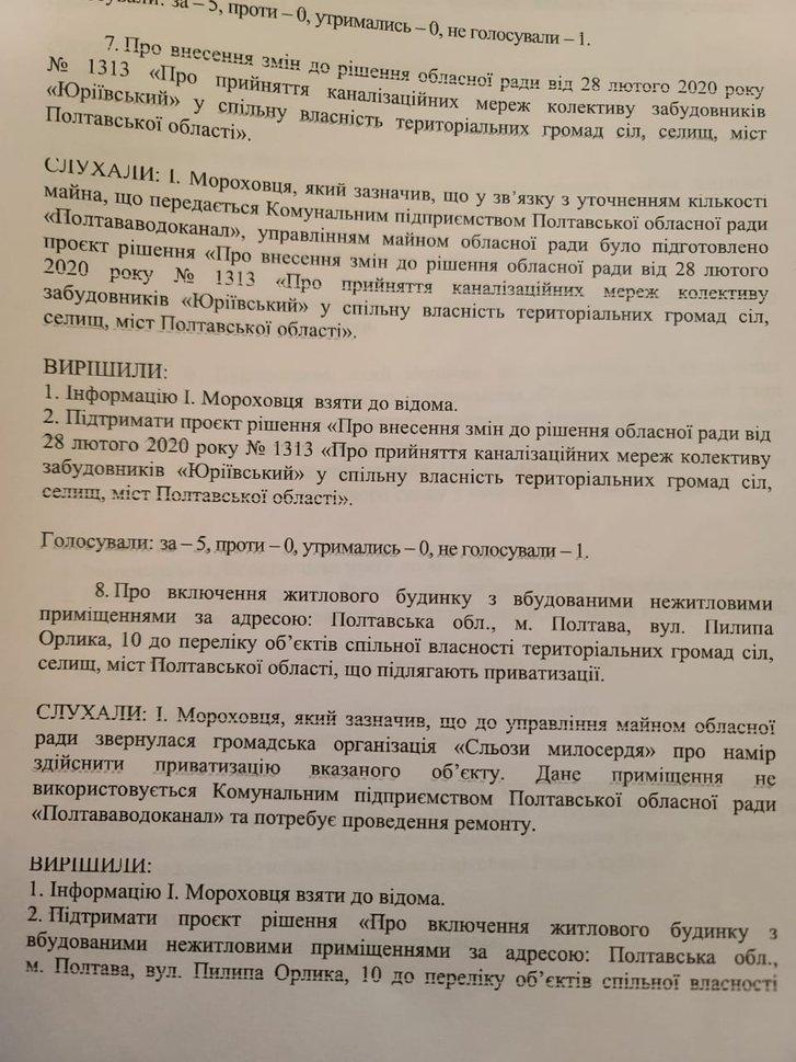 Протокол засідання постійної комісії