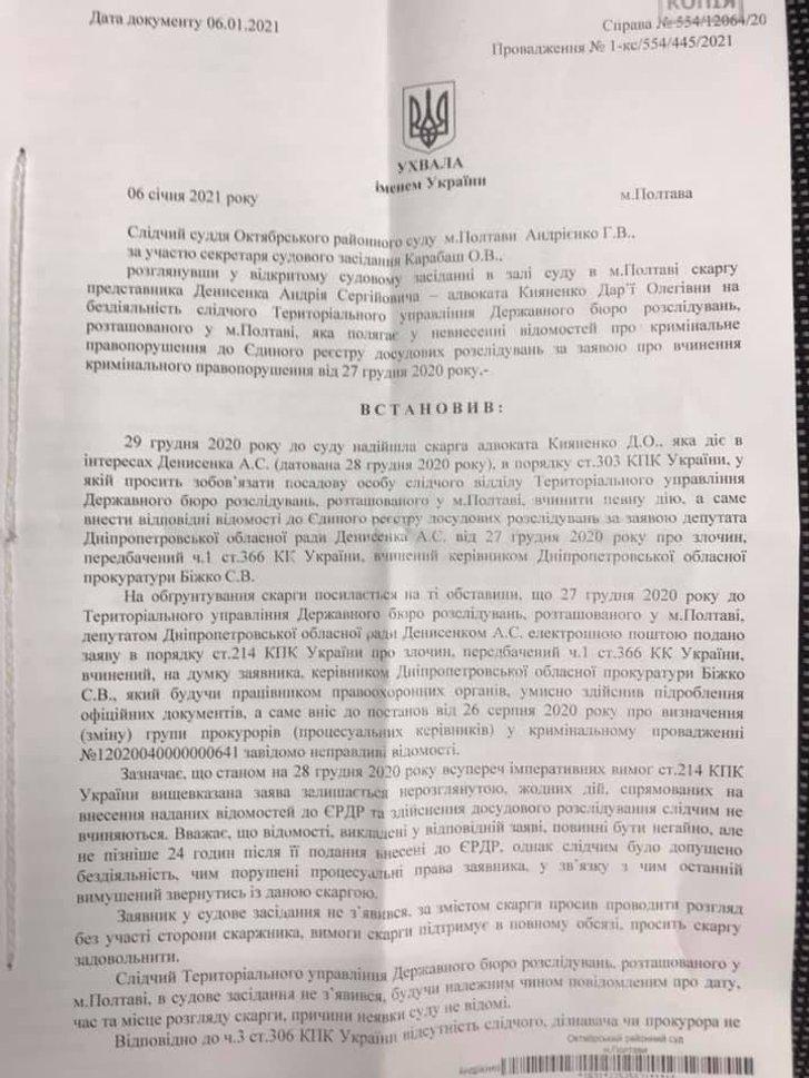 Ухвала Октябрського районного суду м. Полтави