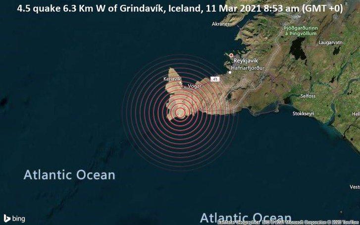Місце землетрусу на південно-західному узбережжі Ісландії (11.03.2021)