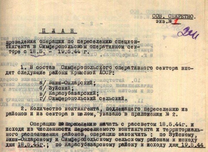 План депортації кримських татар 18-19 травня у Сімферопольському оперативному секторі. З рапорту генерала Шередеги від 15 травня 1944 р. Галузевий держархів СБУ