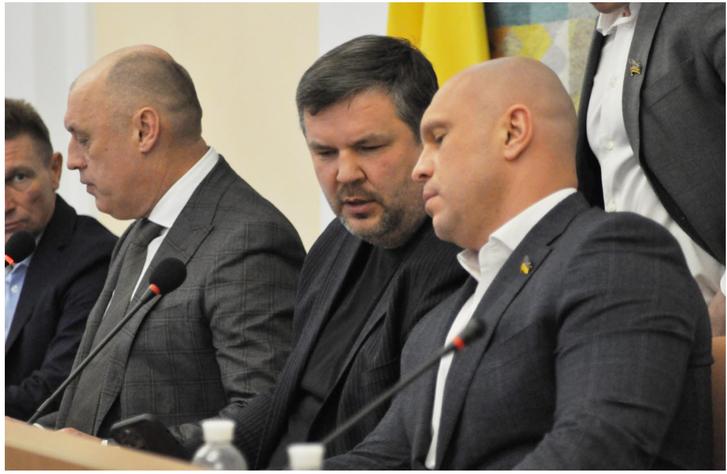Олександр Мамай, Андрій Карпов та Ілля Кива на засіданні міськради
