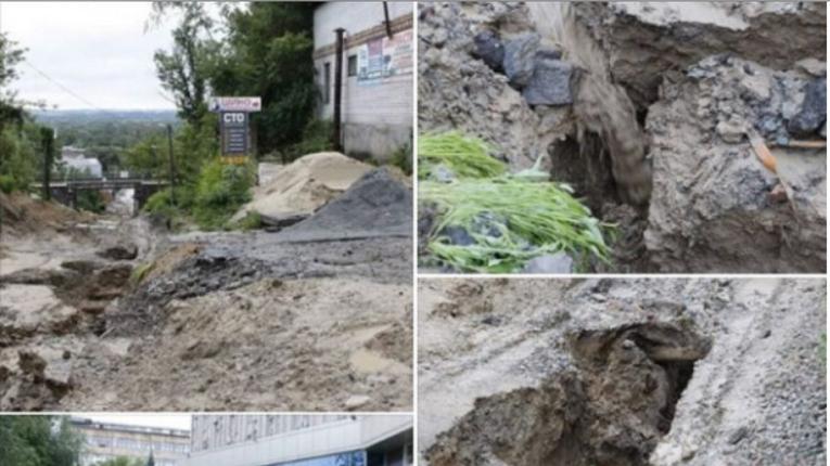 У Дніпрі вдруге поспіль змило «нещодавно відремонтовану дорогу»