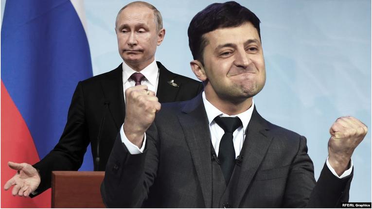 Володимир Зеленський і Володимир Путін (колаж)